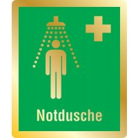 Notdusche - Erste-Hilfe-Schilder in Metall-Optik, EN ISO 7010