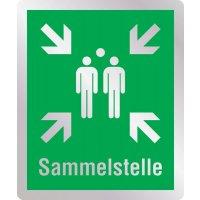 Sammelstelle - Erste-Hilfe-Schilder in Metall-Optik, EN ISO 7010