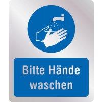 Bitte Hände waschen - Hygiene-Schilder, Metall-Optik