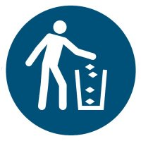 """Gebotszeichen """"Abfallbehälter benutzen"""" nach EN ISO 7010"""