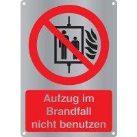 """Kombi-Verbotszeichen-Schilder """"Aufzug im Brandfall nicht benutzen"""" nach EN ISO 7010"""