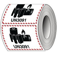 Verpackungskennzeichen für Lithiumbatterien auf Rolle, ADR, RID, ADN, IMDG - Code, IATA