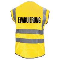 """Warnwesten mit """"EVAKUIERUNG"""" Standardtext, EN ISO 20471:2013"""