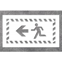 Notausgang links - Fluchtweg-Schablonen zur Boden- und Wandmarkierung