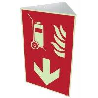 """Brandschutzzeichen-Kombischilder """"Fahrbarer Feuerlöscher"""" mit Richtungspfeil unten nach EN ISO 7010"""