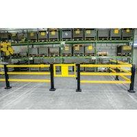 Hybrid Rammschutz-Geländer-System mit Federelement, Innen- und Außeneinsatz
