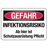"""Hinweisschilder """"GEFAHR - INFEKTIONSRISIKO"""""""