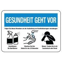 """Hinweisschilder """"GESUNDHEIT GEHT VOR - Krankheitserregern vorzubeugen"""""""