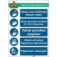 """Covid-19 Handhygiene-Maßnahmen Schilder """"Hände richtig waschen"""""""