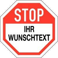 Aufkleber im STOP-Design mit Text nach Wunsch