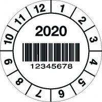 """Prüfplaketten mit Barcode - """"Jahreszahl"""" mit Nummerierung nach Wunsch, auf Rolle"""