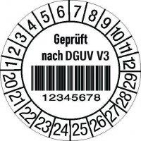 """Prüfplaketten mit Barcode - """"Geprüft nach DGUV V3"""" mit Nummerierung nach Wunsch, auf Rolle"""