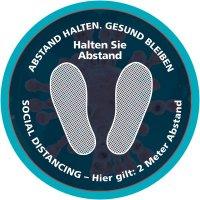 ABSTAND HALTEN - SOCIAL DISTANCING, Füße, rund - SetonWalk Bodenmarkierung, R10 nach DIN 51130/ASR A1.5/1,2