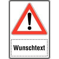 """Kombi-Verkehrsschilder - """"Gefahrstelle"""" mit Text nach Wunsch, Aluminium"""