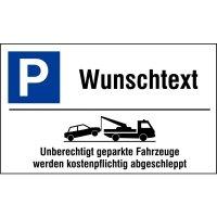 """Parkplatz-Kombi-Schilder - """"Parken"""" mit Abschlepphinweis und Text nach Wunsch, Aluminium, edel"""