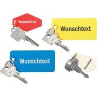 Schlüsselschilder aus Kunststoff mit Wunsch nach Text, graviert