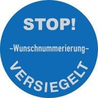 Sicherheits-Siegel mit Stoptext und Wunschnummerierung, rund, Übertragungsschutz