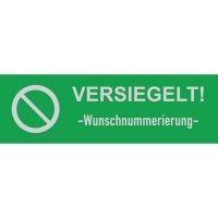 Sicherheits-Siegel mit Verbotszeichen und Wunschnummerierung, rechteckig, Übertragungsschutz