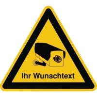 Videokennzeichnung zur Hinterglasverklebung mit Text nach Wunsch, im Warndesign