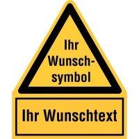 Warnsymbol-Kombi-Schilder mit Symbol und Text nach Wunsch, praxiserprobt