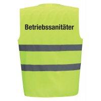 """Warnweste mit """"Betriebssanitäter"""" Sicherheitstext"""