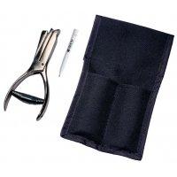 Lochzange mit Tasche für Prüfplaketten Set
