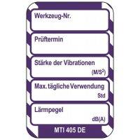 Vibration / Lärmpegel - Scafftag® Microtag Einsteckschilder