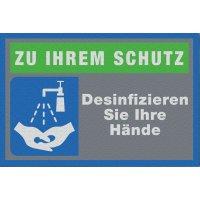 Hände desinfizieren - Schmutzfangmatte Logotex