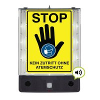 STOP - Kein Zutritt ohne Atemschutz - SETON Schild-Wächter, Bewegungsmelder mit Sprachausgabe & LED-Licht