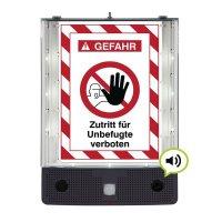 Zutritt für Unbefugte verboten - SETON Schild-Wächter, Bewegungsmelder mit Sprachausgabe & LED-Licht