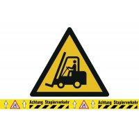 Warnung vor Flurförderzeugen - BRADY Bodenmarkierungsband mit Warnzeichen, bedruckt
