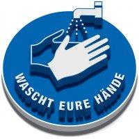 "3D-Bodenmarkierung COVID ""Wascht Eure Hände"""