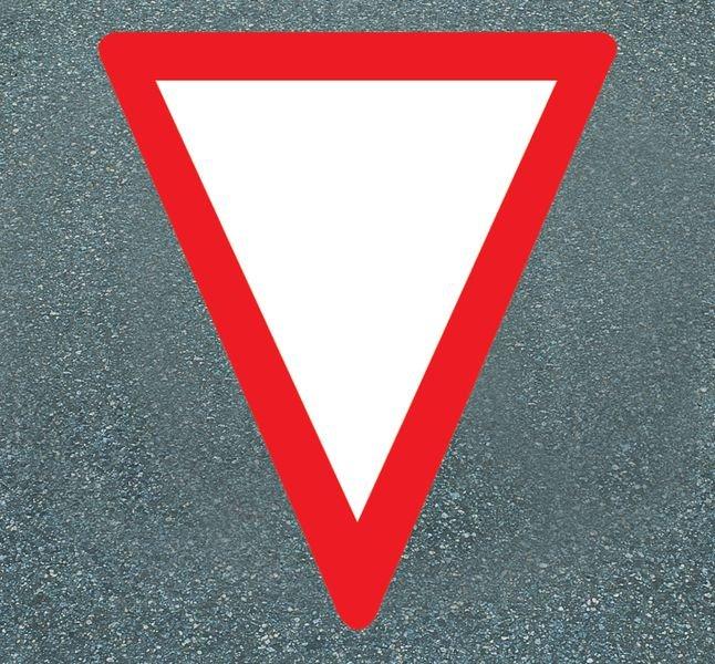 Vorfahrt gewähren – Asphaltfolie zur Straßenmarkierung, R10 gemäß DIN 51130/ASR A1.5/1,2