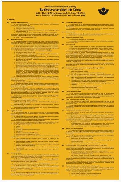 Betriebsvorschriften für Kräne - Berufsgenossenschaftliche Aushänge