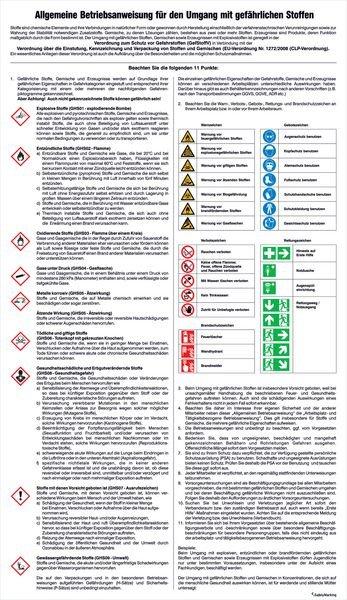 Umgang mit gefährlichen Stoffen - Berufsgenossenschaftliche Aushänge