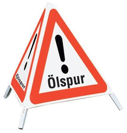 Ölspur - Faltsignale mit Symbol Gefahrstelle
