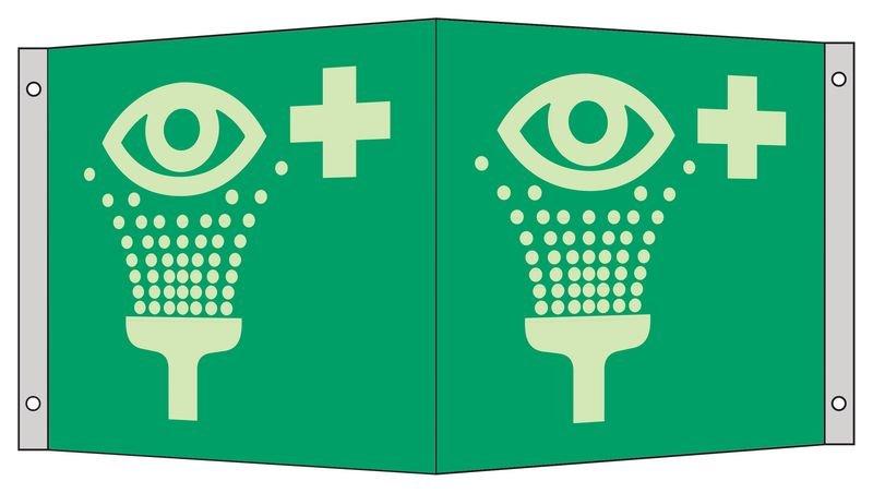 Augenspüleinrichtung - Fahnen-, Winkel- und Deckenschilder mit Rettungszeichen-Symbol