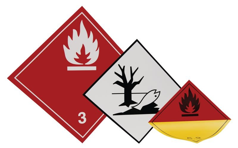 Oben - Aufkleber für den Transport gefährlicher Güter, GGVSEB, ADR, RID, IMDG, GGVSee, ADN