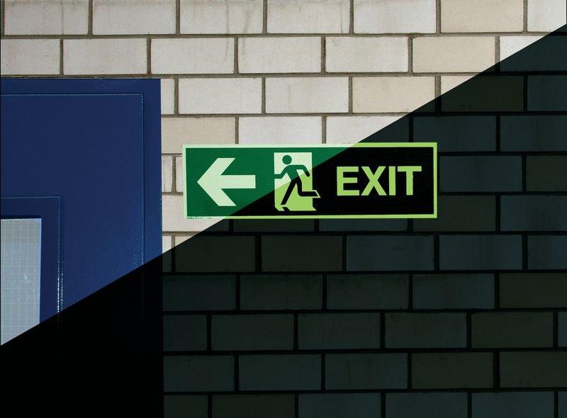 EXIT Pfeil links - Internationale Rettungs- und Brandschutzzeichen aus der betrieblichen Praxis, langnachleuchtend