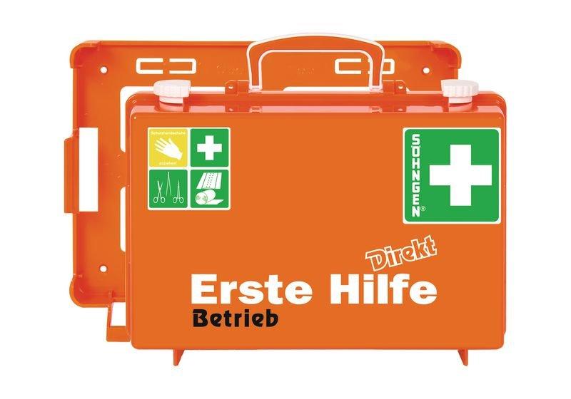 SÖHNGEN Erste-Hilfe-Koffer Direkt - für Betrieb mit Text nach Wunsch, DIN 13157