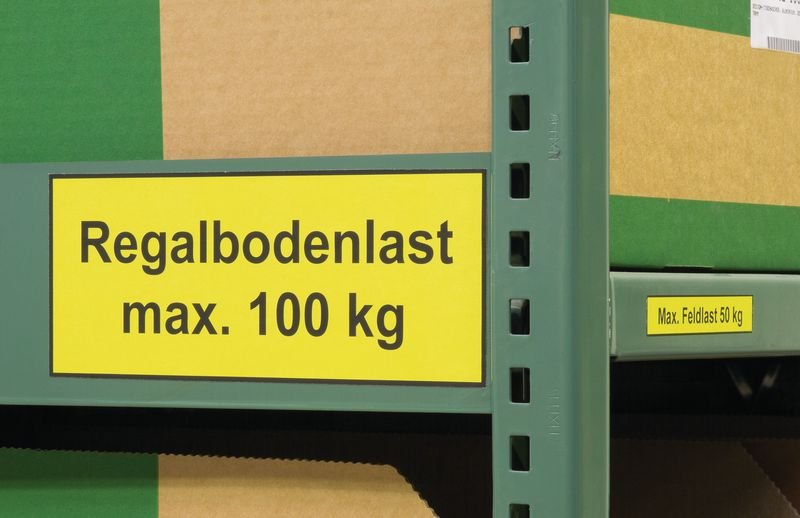 Regalbodenlast max. [_] kg – Regalkennzeichnungen mit Gewichtsangaben
