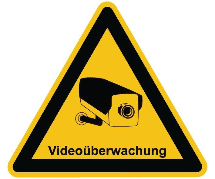 Videoüberwachung - Videokennzeichnung zur Hinterglasverklebung im Warndesign, praxiserprobt