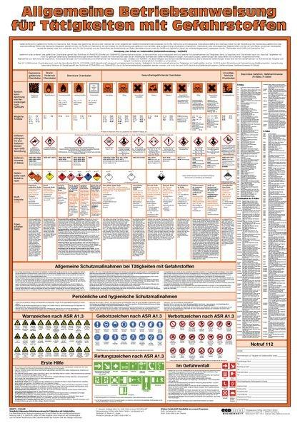 Allgemeine Betriebsanweisung – Aushang-Set, GHS/CLP-Verordnung