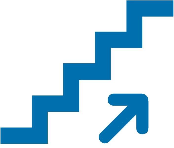 Treppe mit Richtungspfeil - Piktogramm aus Folie, selbstklebend, ISO 7001