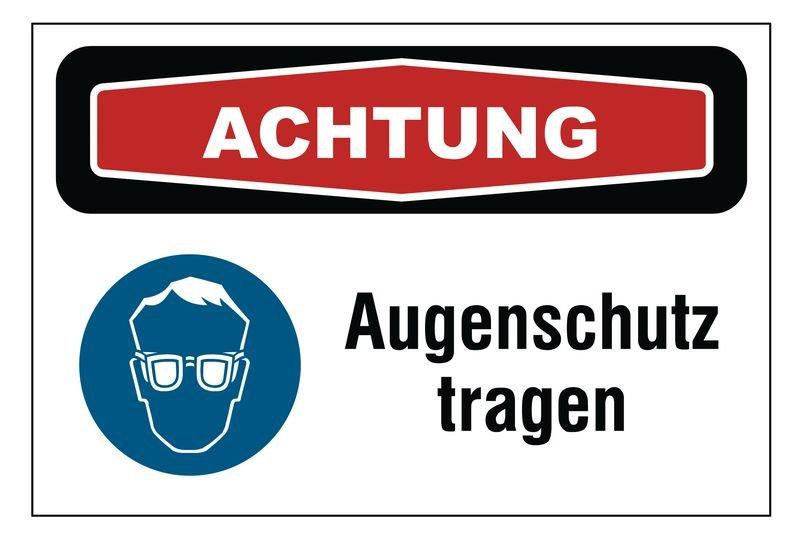 Focus-Schilder Augenschutz mit Symbol und Text