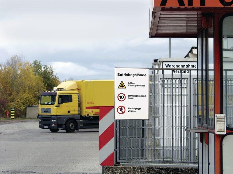 Warnung vor Flurförderzeugen/Höchstgeschwindigkeit/Für Fußgänger verboten - PREMIUM Verkehrstafeln - Verkehrszeichen: Hinweissignale und Zusatztafeln SSV Schweiz