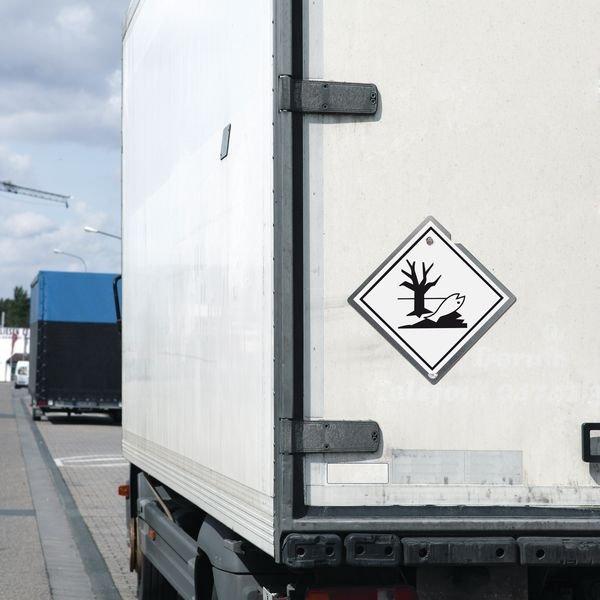 Umweltgefährdende Stoffe - Gefahrzettel-Schilder zum Transport von Gefahrgut, Aluminium, ADR, RID, IMO, IATA, GGVSE, IMDG - Sicherheitskennzeichnung und Rettungszeichen