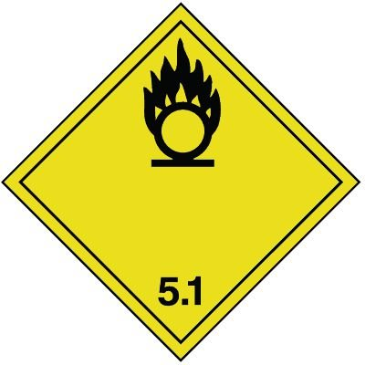 Entzündend wirkende Stoffe 5.1 - Gefahrzettel-Schilder zum Transport von Gefahrgut, Aluminium, ADR, RID, IMO, IATA, GGVSE, IMDG