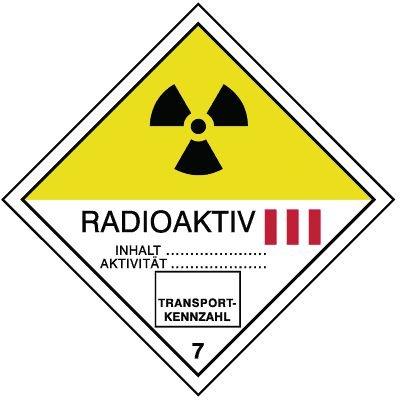 Radioaktive Stoffe III 7 - Gefahrzettel-Schilder zum Transport von Gefahrgut, Aluminium, ADR, RID, IMO, IATA, GGVSE, IMDG