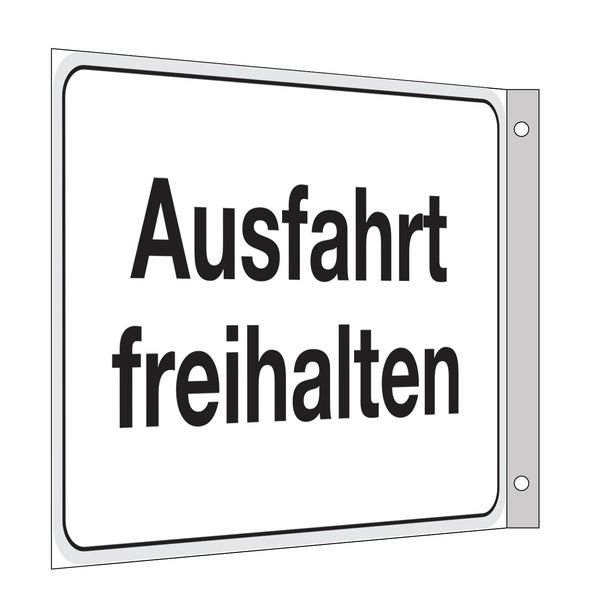 Ausfahrt freihalten - Fahnen- und Winkelschilder, mit Text